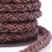 Natural Red Brown Round Braided Bolo